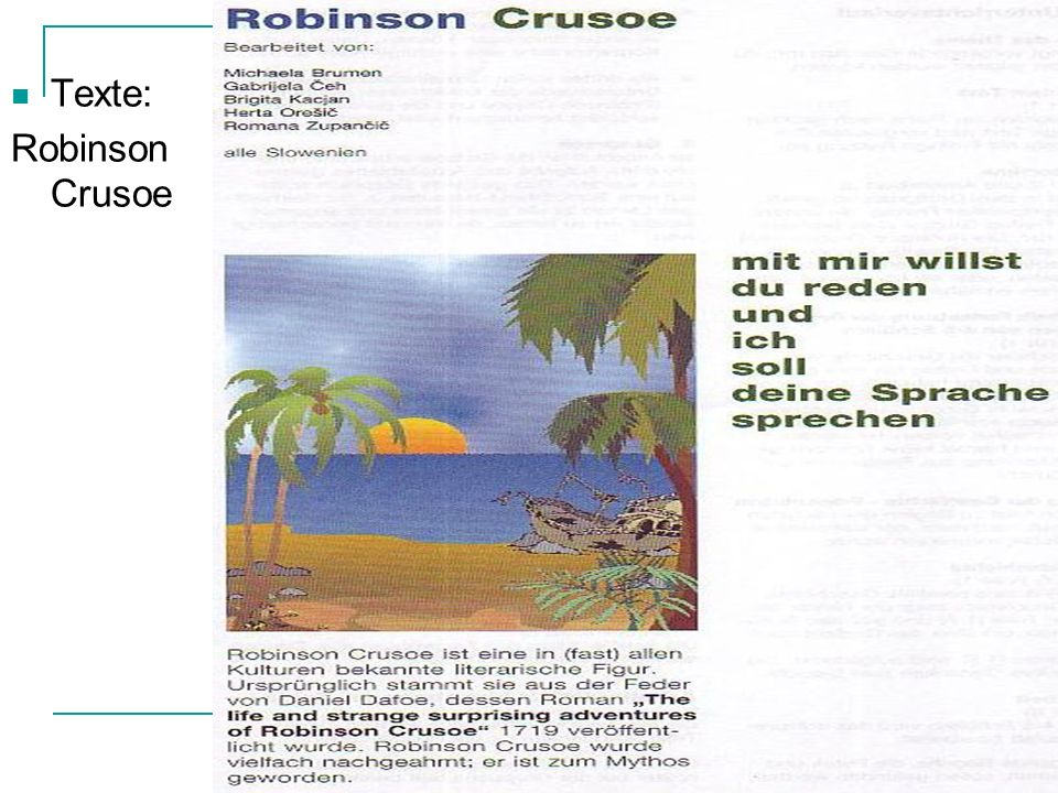 Texte: Robinson Crusoe