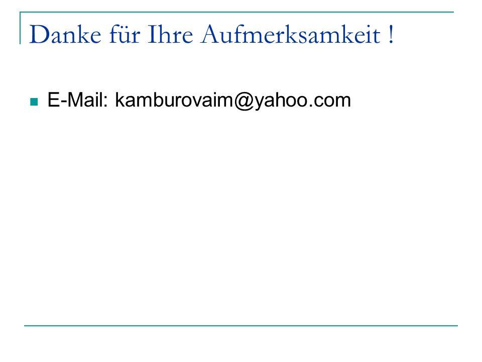 Danke für Ihre Aufmerksamkeit ! E-Mail: kamburovaim@yahoo.com