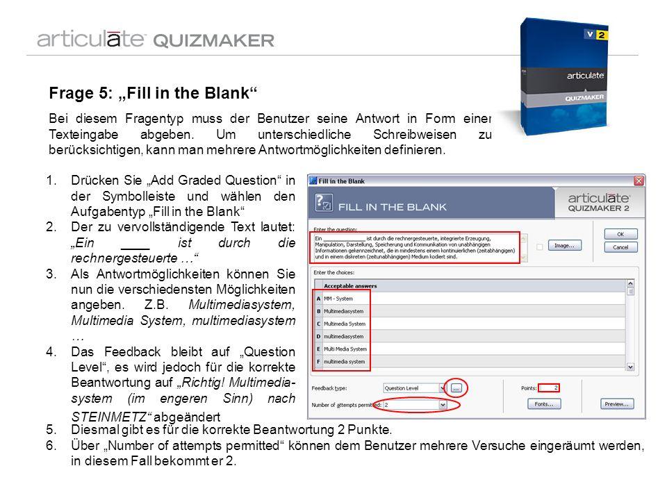 Frage 5: Fill in the Blank Bei diesem Fragentyp muss der Benutzer seine Antwort in Form einer Texteingabe abgeben. Um unterschiedliche Schreibweisen z