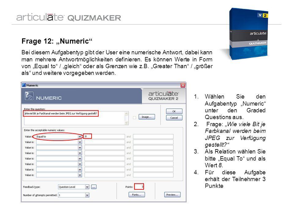 Frage 12: Numeric Bei diesem Aufgabentyp gibt der User eine numerische Antwort, dabei kann man mehrere Antwortmöglichkeiten definieren. Es können Wert