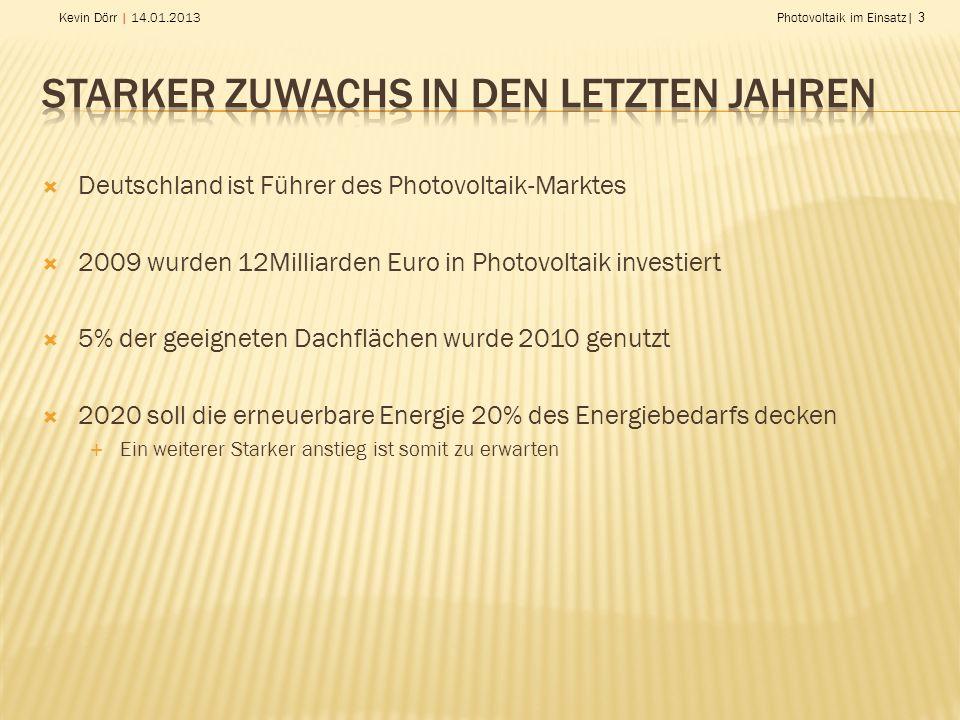 Kevin Dörr | 14.01.2013Photovoltaik im Einsatz| 3 Deutschland ist Führer des Photovoltaik-Marktes 2009 wurden 12Milliarden Euro in Photovoltaik investiert 5% der geeigneten Dachflächen wurde 2010 genutzt 2020 soll die erneuerbare Energie 20% des Energiebedarfs decken Ein weiterer Starker anstieg ist somit zu erwarten