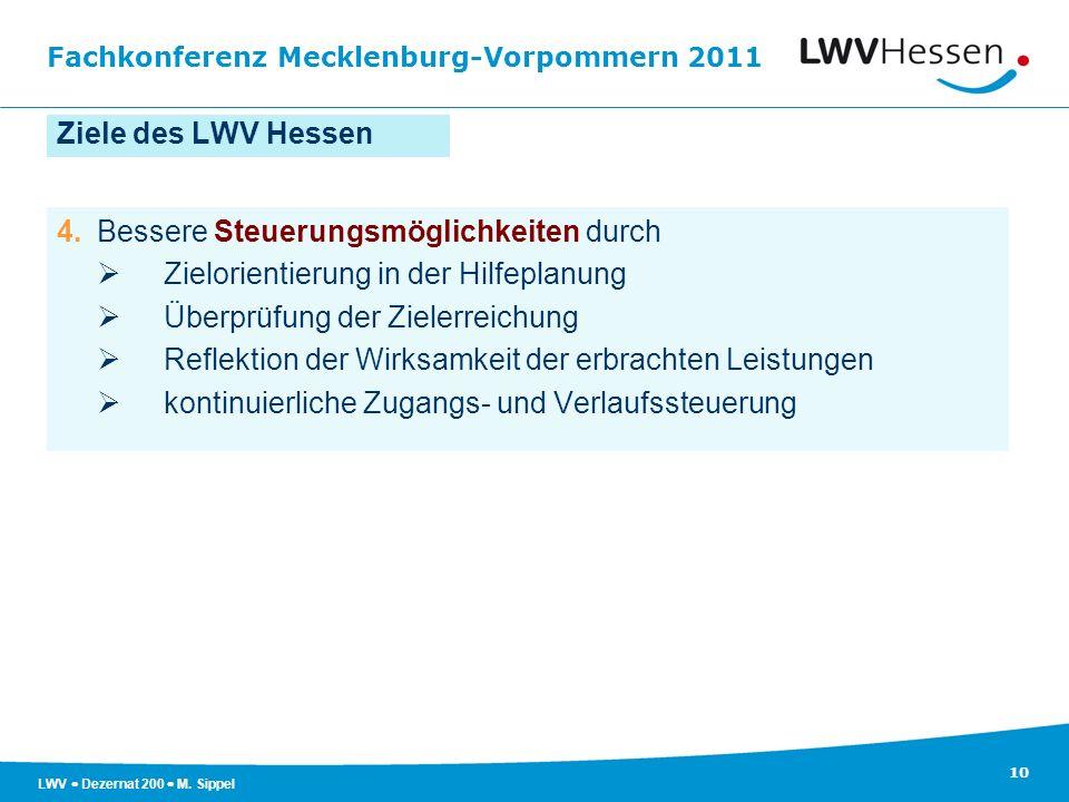 Fachkonferenz Mecklenburg-Vorpommern 2011 10 LWV Dezernat 200 M. Sippel Ziele des LWV Hessen 4.Bessere Steuerungsmöglichkeiten durch Zielorientierung