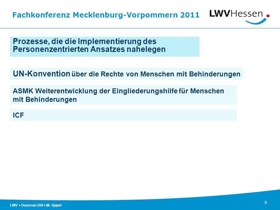 Fachkonferenz Mecklenburg-Vorpommern 2011 2 LWV Dezernat 200 M. Sippel UN-Konvention über die Rechte von Menschen mit Behinderungen ASMK Weiterentwick