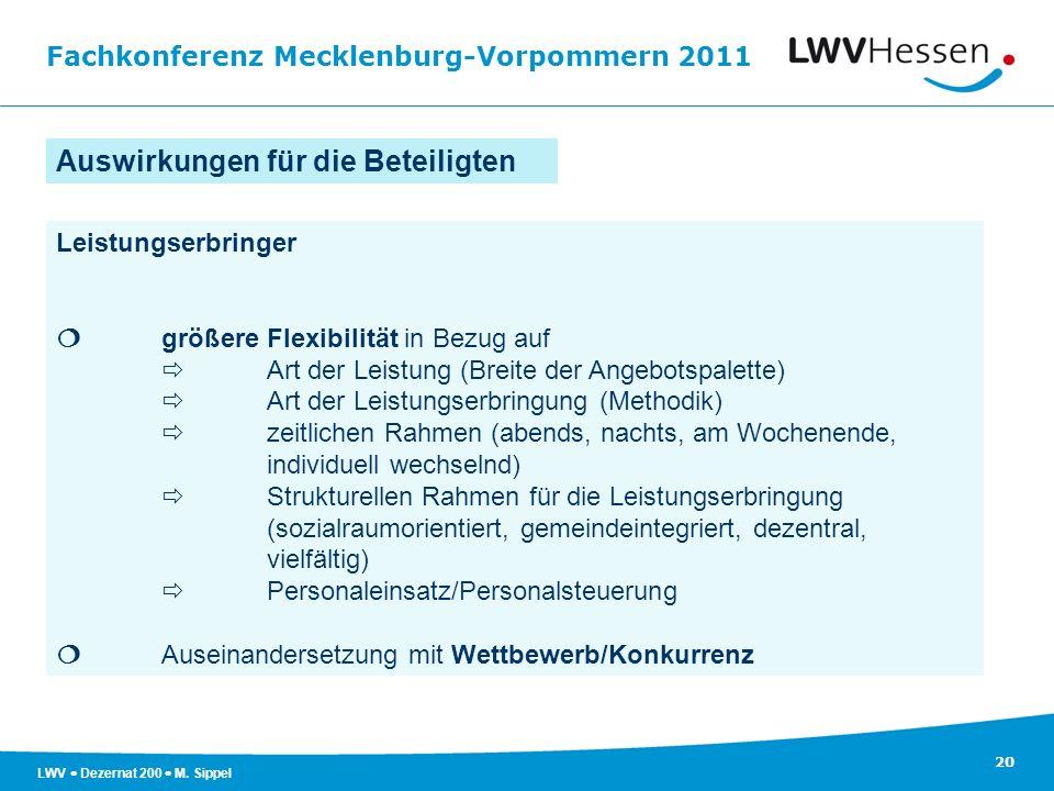 Fachkonferenz Mecklenburg-Vorpommern 2011 20 LWV Dezernat 200 M. Sippel Leistungserbringer größere Flexibilität in Bezug auf Art der Leistung (Breite