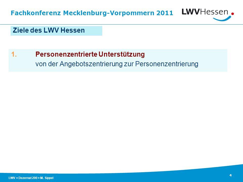 Fachkonferenz Mecklenburg-Vorpommern 2011 4 LWV Dezernat 200 M. Sippel Ziele des LWV Hessen 1.Personenzentrierte Unterstützung von der Angebotszentrie