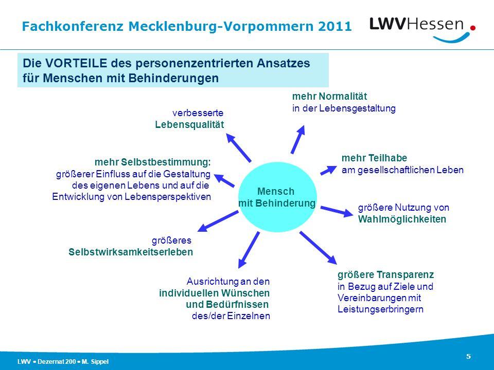 Fachkonferenz Mecklenburg-Vorpommern 2011 5 LWV Dezernat 200 M. Sippel Die VORTEILE des personenzentrierten Ansatzes für Menschen mit Behinderungen ve