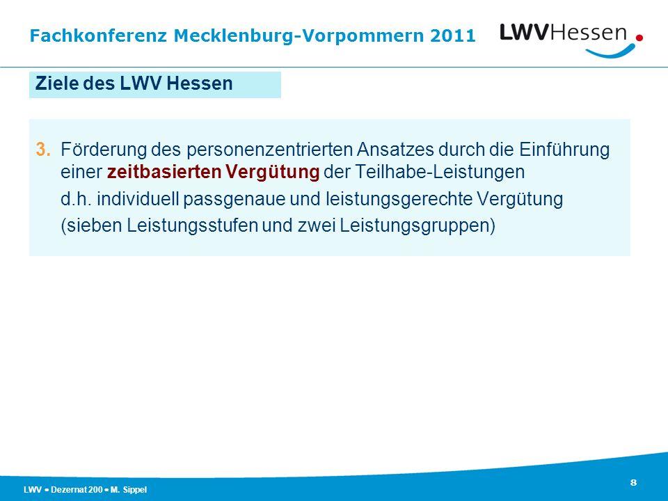 Fachkonferenz Mecklenburg-Vorpommern 2011 8 LWV Dezernat 200 M. Sippel Ziele des LWV Hessen 3.Förderung des personenzentrierten Ansatzes durch die Ein