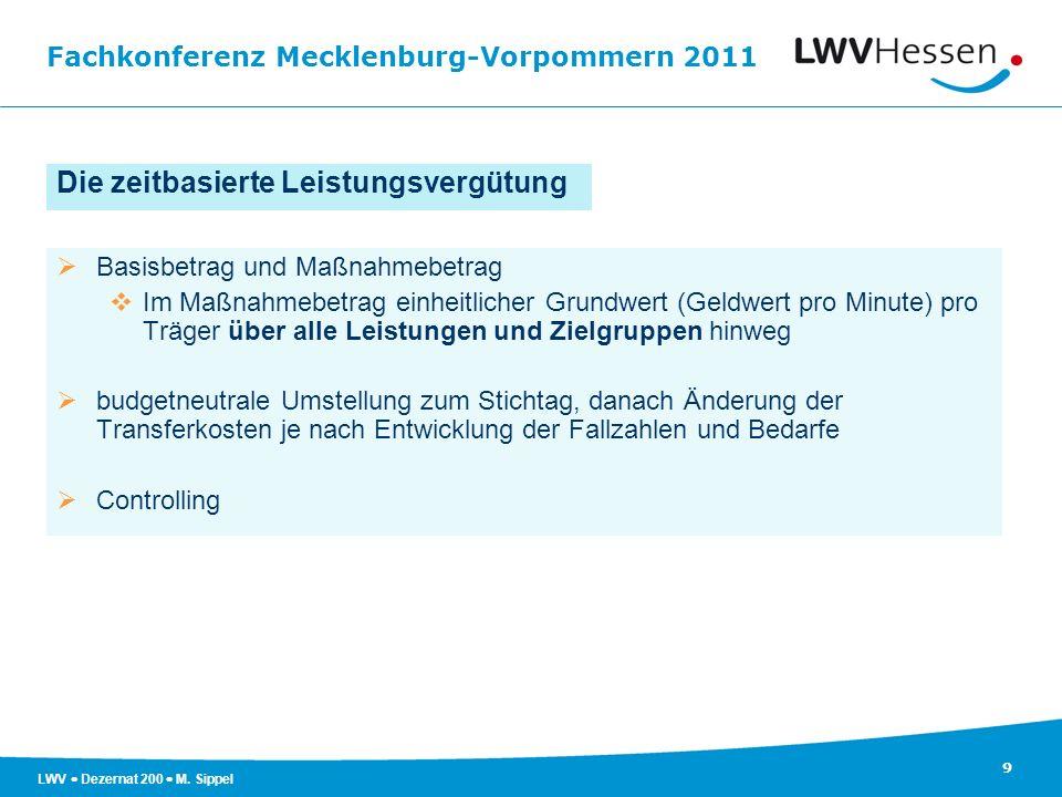 Fachkonferenz Mecklenburg-Vorpommern 2011 9 LWV Dezernat 200 M. Sippel Die zeitbasierte Leistungsvergütung Basisbetrag und Maßnahmebetrag Im Maßnahmeb