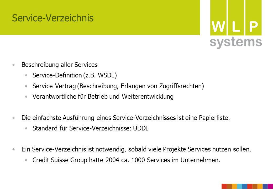 Service-Verzeichnis Beschreibung aller Services Service-Definition (z.B. WSDL) Service-Vertrag (Beschreibung, Erlangen von Zugriffsrechten) Verantwort