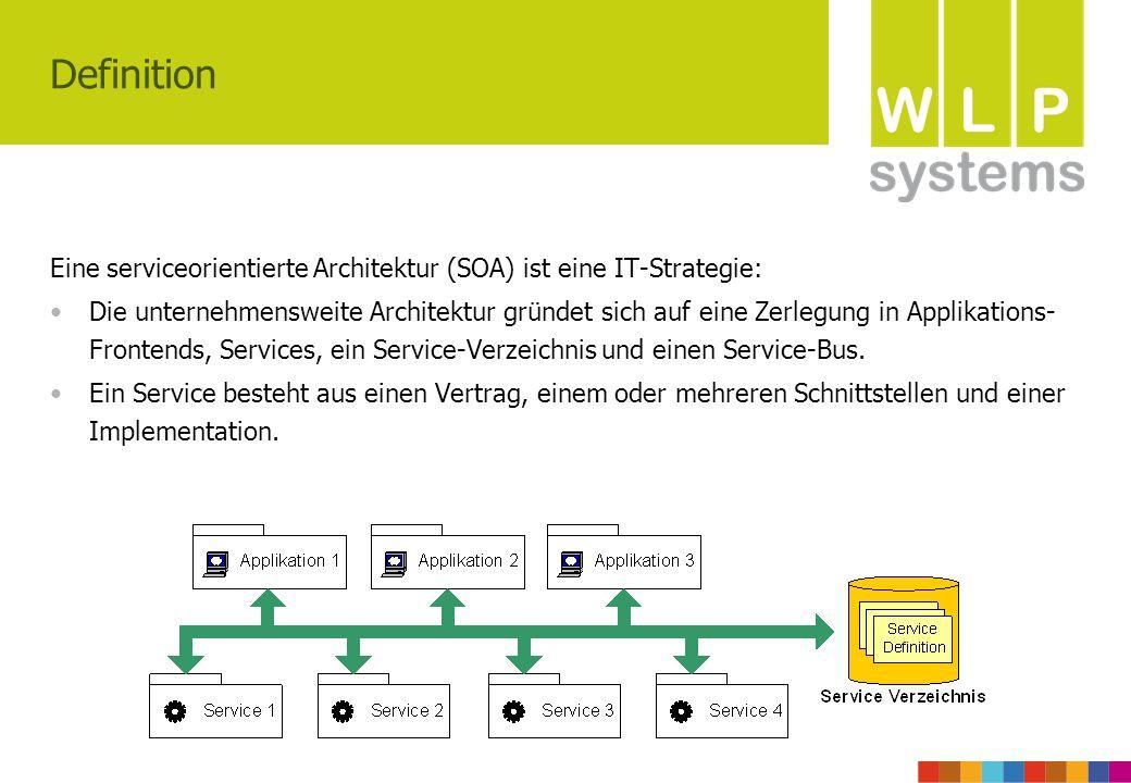 Definition Eine serviceorientierte Architektur (SOA) ist eine IT-Strategie: Die unternehmensweite Architektur gründet sich auf eine Zerlegung in Applikations- Frontends, Services, ein Service-Verzeichnis und einen Service-Bus.