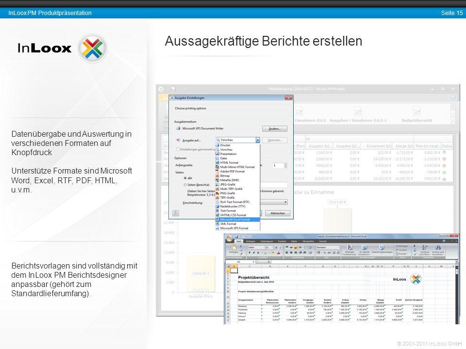 Seite 16 InLoox PM Produktpräsentation © 2001-2011 InLoox GmbH Projektmarketing mit E-Mail-Vorlagen Zeiterfassungseinträge und Dokumente (wie E-Mails, Dateianhänge etc.) können direkt für ein Projekt erfasst werden.