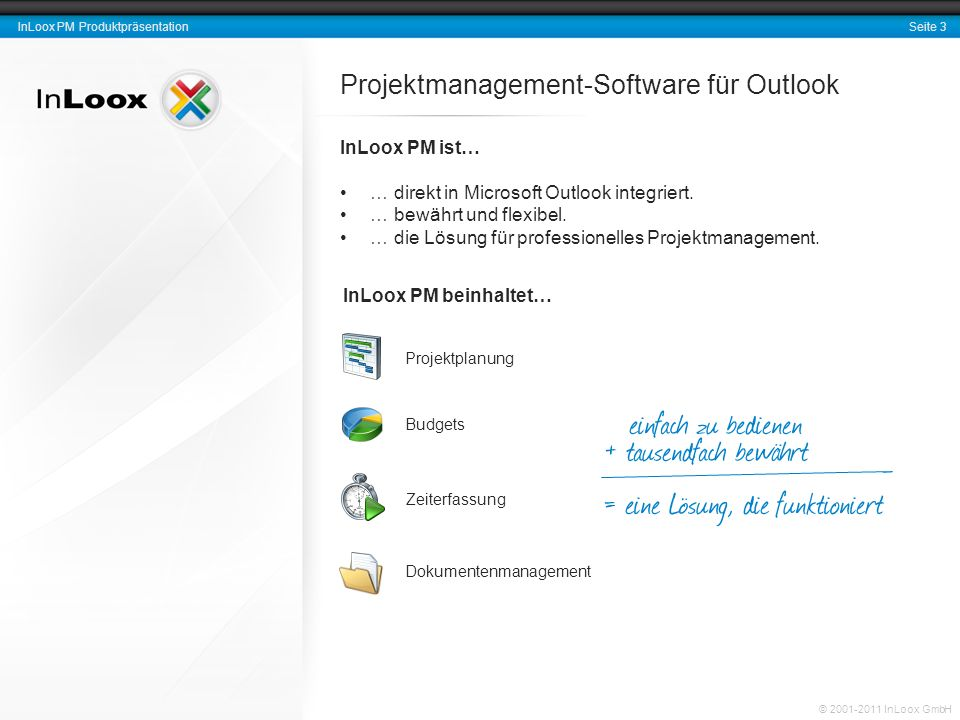 Seite 3 InLoox PM Produktpräsentation © 2001-2011 InLoox GmbH Projektmanagement-Software für Outlook InLoox PM ist… … direkt in Microsoft Outlook inte