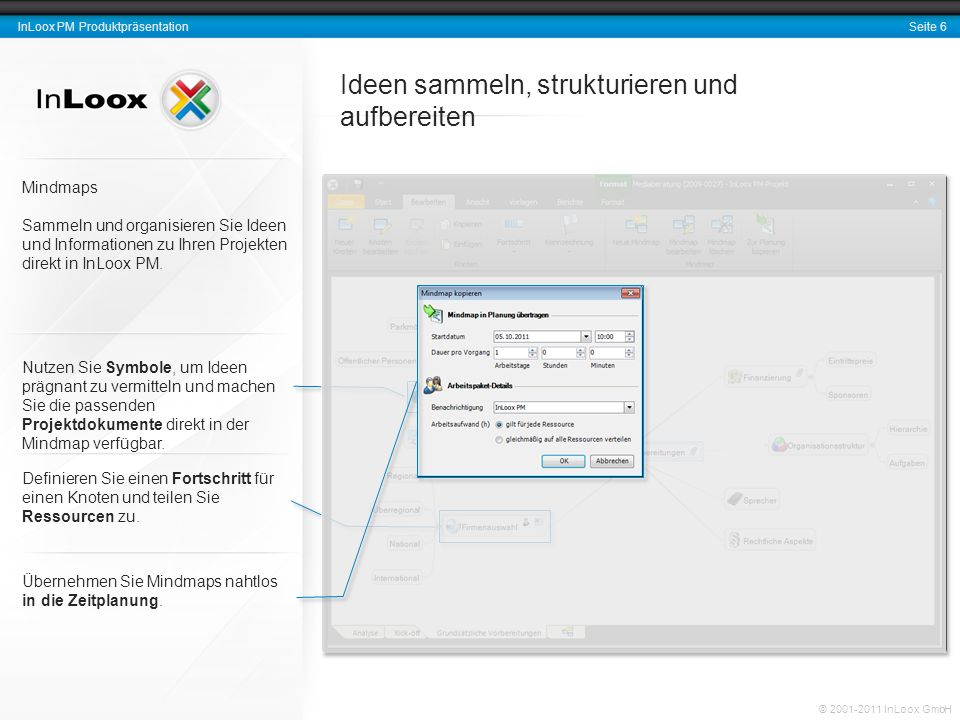Seite 7 InLoox PM Produktpräsentation © 2001-2011 InLoox GmbH Vorgänge und Meilensteine stets im Blick Hervorhebungen Kennzeichnen Sie Elemente des Projektplans wie Sie es von Microsoft Outlook gewohnt sind.