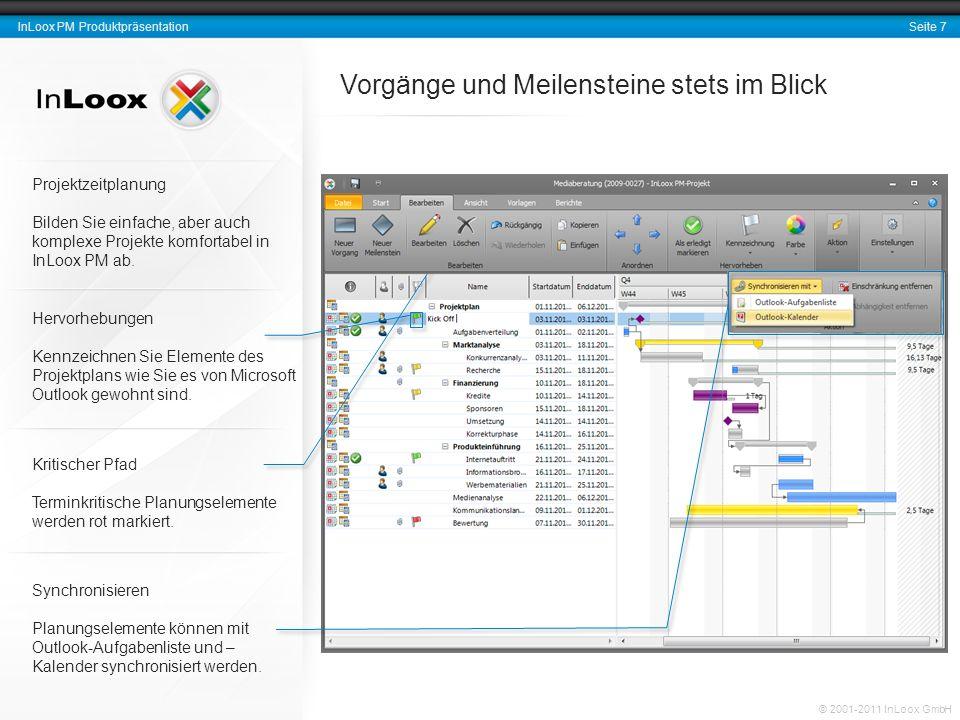 Seite 8 InLoox PM Produktpräsentation © 2001-2011 InLoox GmbH Rückmeldungen zum Projekt-Fortschritt InLoox PM informiert Projektressourcen über neue und anstehende Aufgaben.