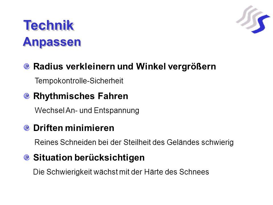 Technik Radius verkleinern und Winkel vergrößern Rhythmisches Fahren Driften minimieren Tempokontrolle-Sicherheit Wechsel An- und Entspannung Reines S
