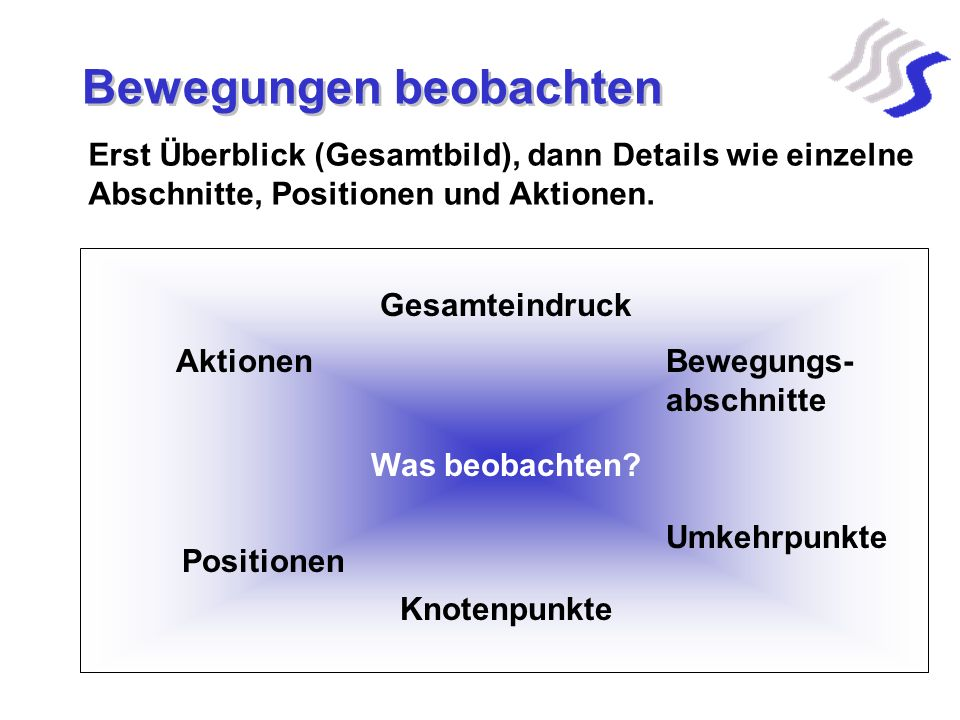 Bewegungen beobachten Erst Überblick (Gesamtbild), dann Details wie einzelne Abschnitte, Positionen und Aktionen. Gesamteindruck Was beobachten? Beweg