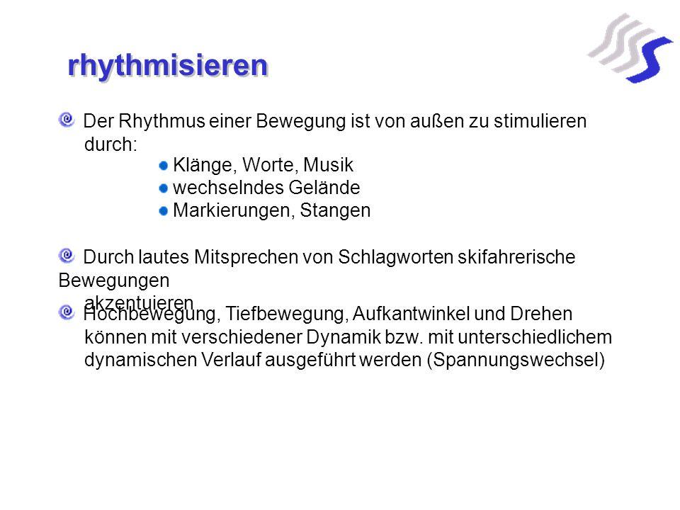rhythmisieren Der Rhythmus einer Bewegung ist von außen zu stimulieren durch: Klänge, Worte, Musik wechselndes Gelände Markierungen, Stangen Durch lau