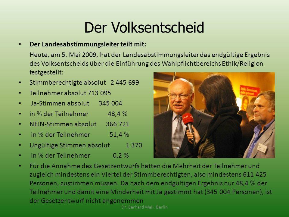 Der Volksentscheid Der Landesabstimmungsleiter teilt mit: Heute, am 5. Mai 2009, hat der Landesabstimmungsleiter das endgültige Ergebnis des Volksents