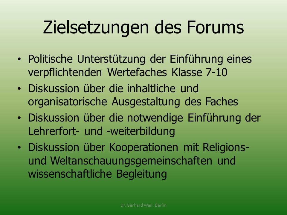 Zielsetzungen des Forums Politische Unterstützung der Einführung eines verpflichtenden Wertefaches Klasse 7-10 Diskussion über die inhaltliche und org