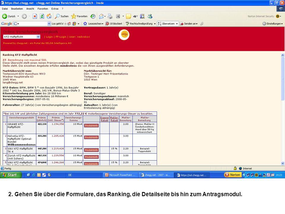 2. Gehen Sie über die Formulare, das Ranking, die Detailseite bis hin zum Antragsmodul.