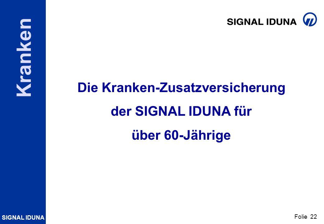 SIGNAL IDUNA Folie 22 Kranken Die Kranken-Zusatzversicherung der SIGNAL IDUNA für über 60-Jährige