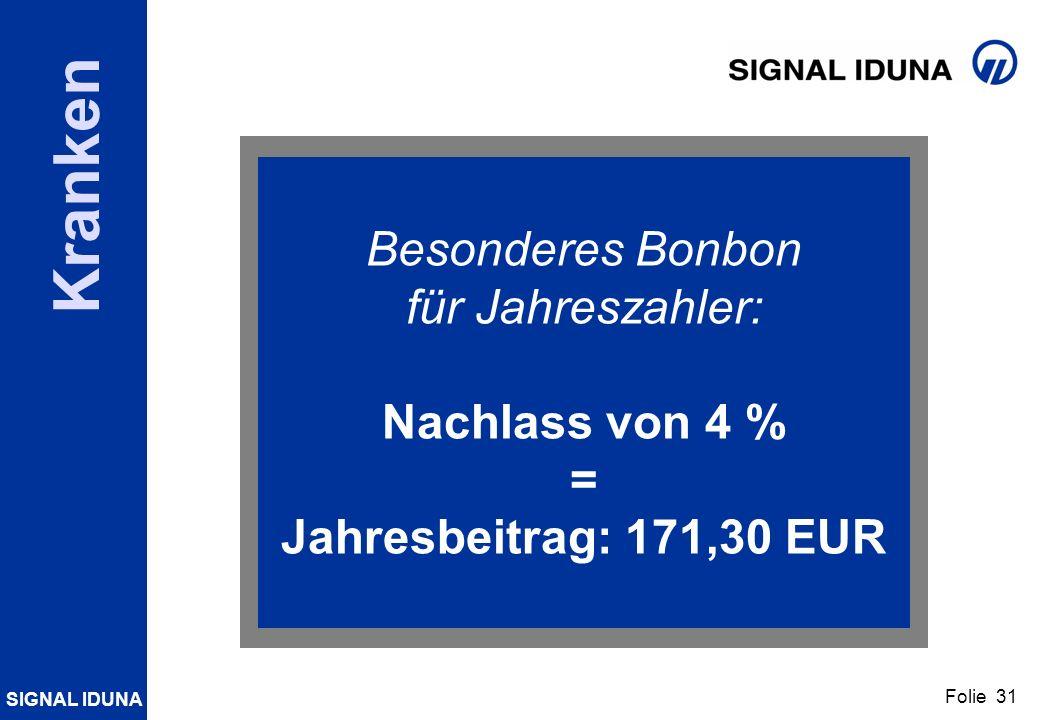 SIGNAL IDUNA Folie 31 Kranken Besonderes Bonbon für Jahreszahler: Nachlass von 4 % = Jahresbeitrag: 171,30 EUR