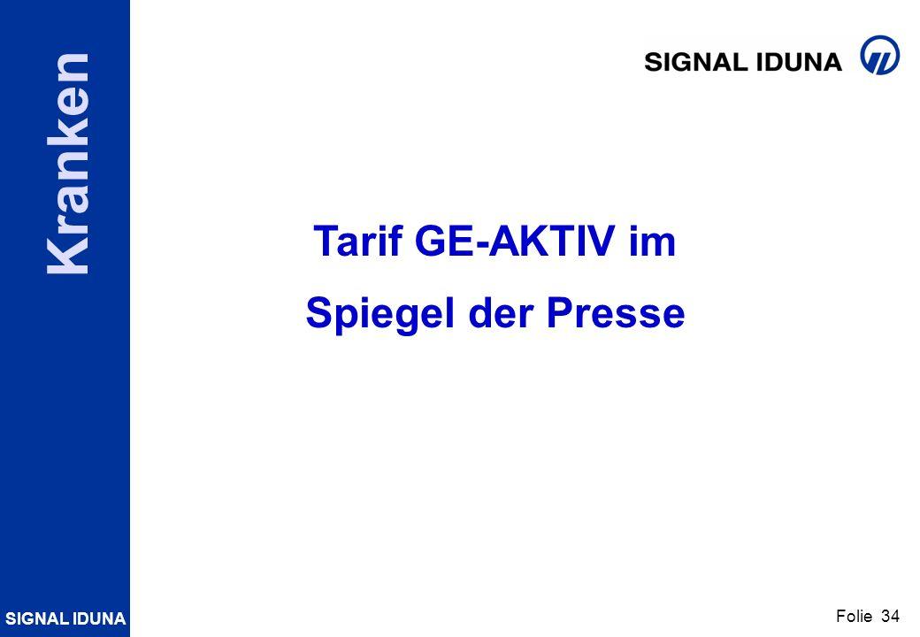 SIGNAL IDUNA Folie 34 Kranken Tarif GE-AKTIV im Spiegel der Presse