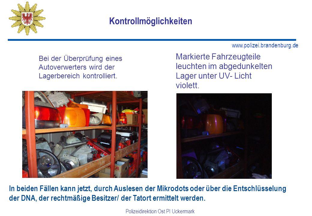 www.polizei.brandenburg.de Polizeidirektion Ost PI Uckermark Kontrollmöglichkeiten Bei der Überprüfung eines Autoverwerters wird der Lagerbereich kontrolliert.
