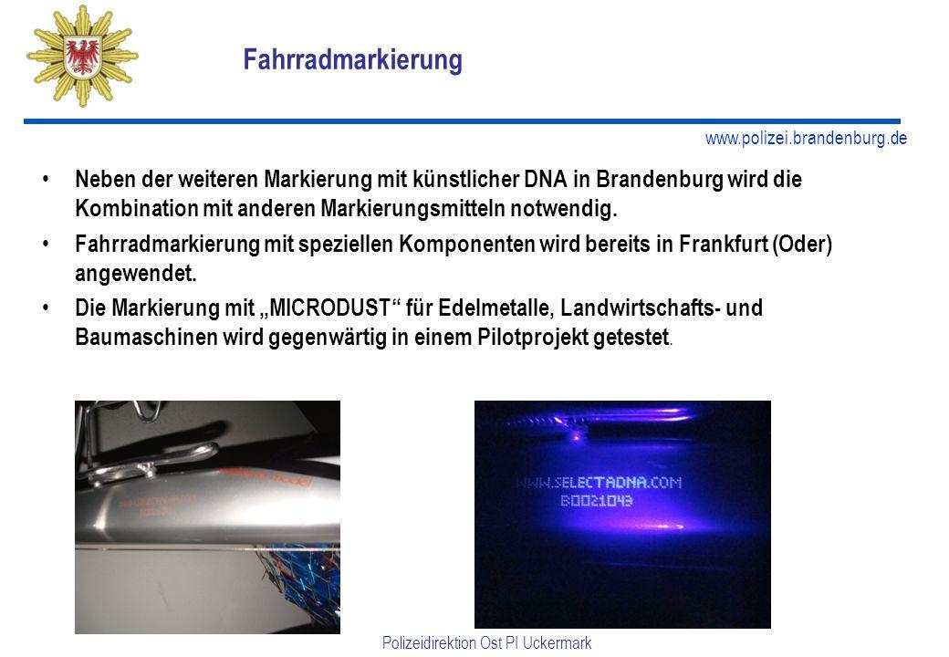 www.polizei.brandenburg.de Polizeidirektion Ost PI Uckermark Fahrradmarkierung Neben der weiteren Markierung mit künstlicher DNA in Brandenburg wird die Kombination mit anderen Markierungsmitteln notwendig.