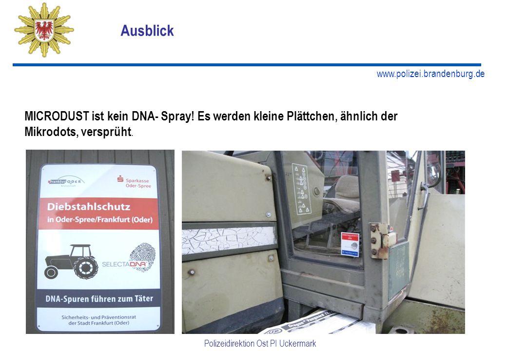 www.polizei.brandenburg.de Polizeidirektion Ost PI Uckermark MICRODUST ist kein DNA- Spray.