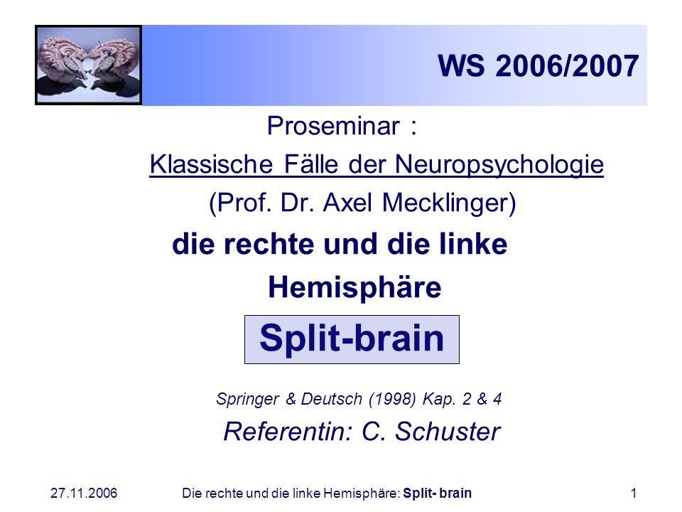 27.11.2006 Die rechte und die linke Hemisphäre: Split- brain1 WS 2006/2007 Proseminar : Klassische Fälle der Neuropsychologie (Prof. Dr. Axel Meckling