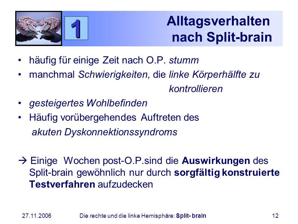 27.11.2006 Die rechte und die linke Hemisphäre: Split- brain12 Alltagsverhalten nach Split-brain häufig für einige Zeit nach O.P. stumm manchmal Schwi