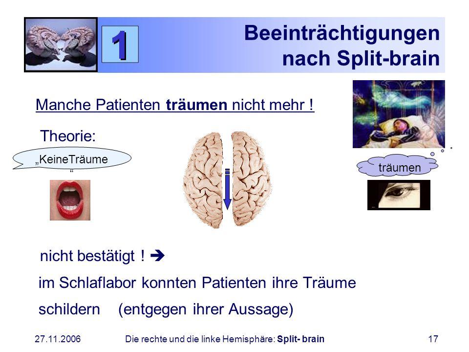 27.11.2006 Die rechte und die linke Hemisphäre: Split- brain17 Beeinträchtigungen nach Split-brain Manche Patienten träumen nicht mehr ! Theorie: nich