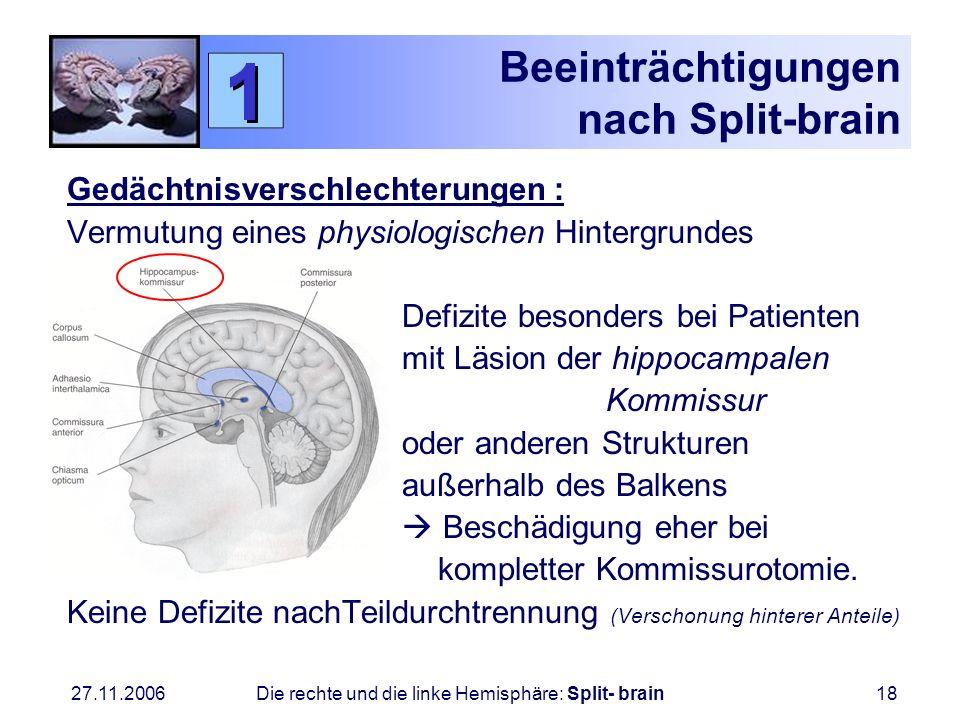 27.11.2006 Die rechte und die linke Hemisphäre: Split- brain18 Beeinträchtigungen nach Split-brain Gedächtnisverschlechterungen : Vermutung eines phys
