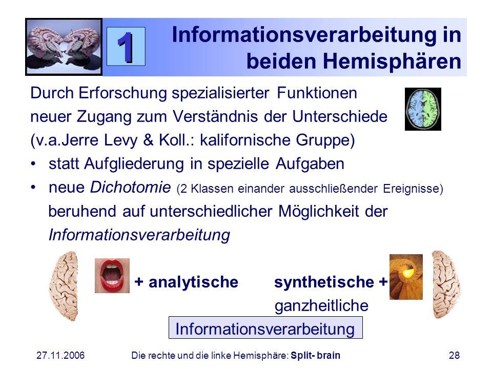 27.11.2006 Die rechte und die linke Hemisphäre: Split- brain28 Informationsverarbeitung in beiden Hemisphären Durch Erforschung spezialisierter Funkti