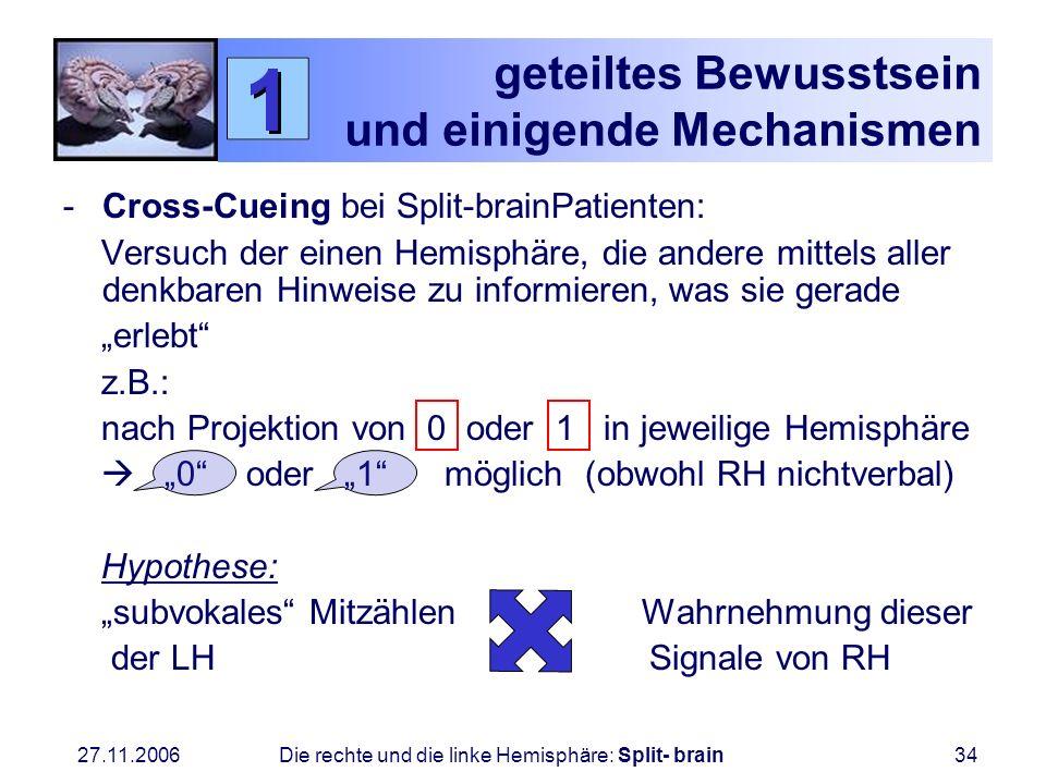 27.11.2006 Die rechte und die linke Hemisphäre: Split- brain34 geteiltes Bewusstsein und einigende Mechanismen -Cross-Cueing bei Split-brainPatienten: