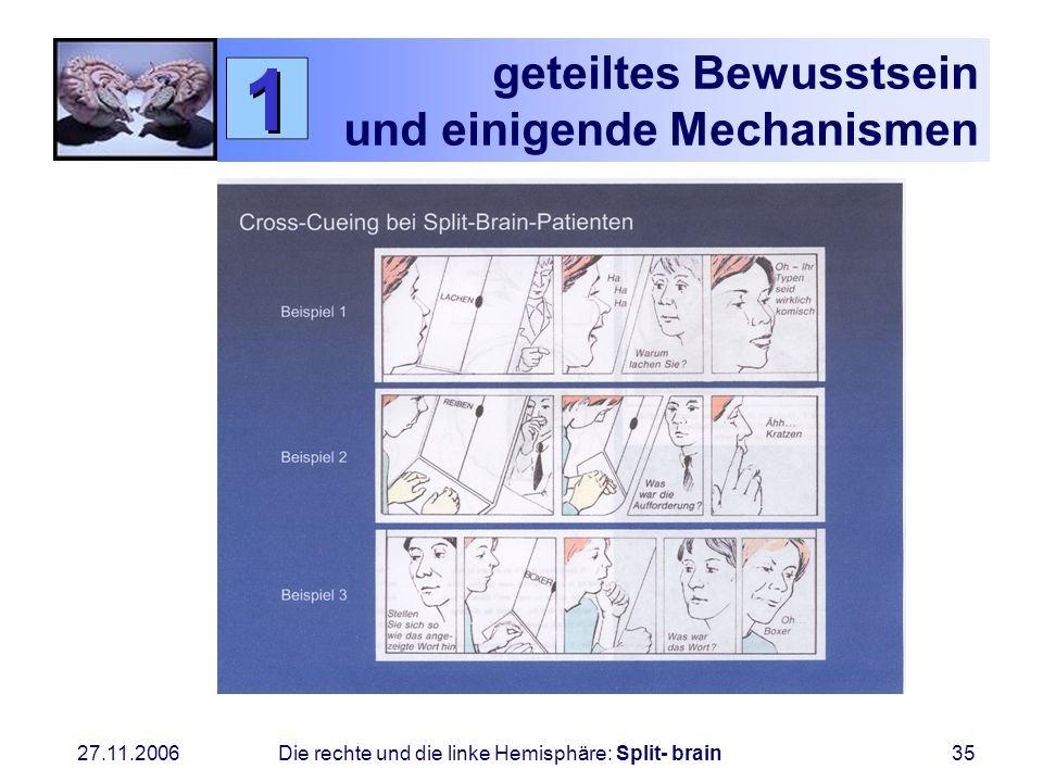 27.11.2006 Die rechte und die linke Hemisphäre: Split- brain35 geteiltes Bewusstsein und einigende Mechanismen