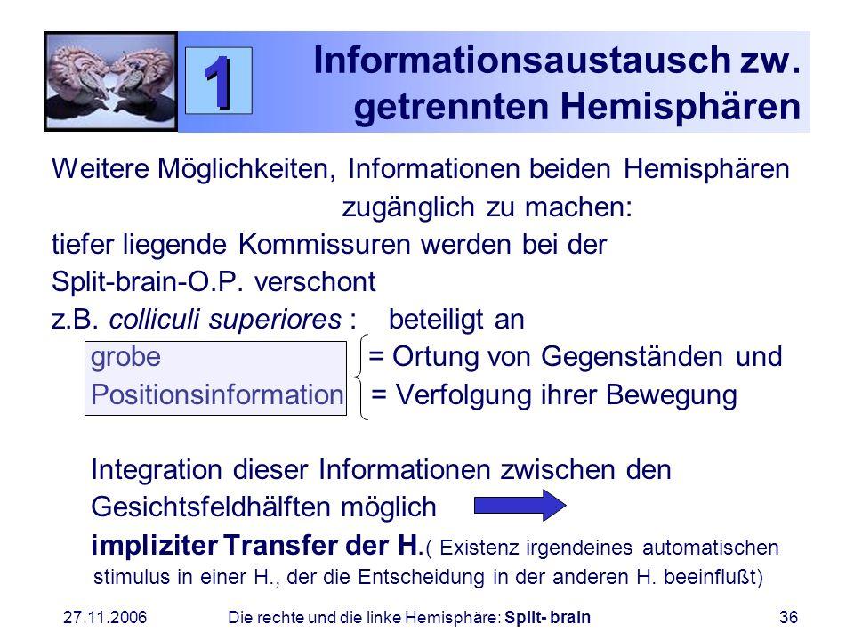 27.11.2006 Die rechte und die linke Hemisphäre: Split- brain36 Informationsaustausch zw. getrennten Hemisphären Weitere Möglichkeiten, Informationen b