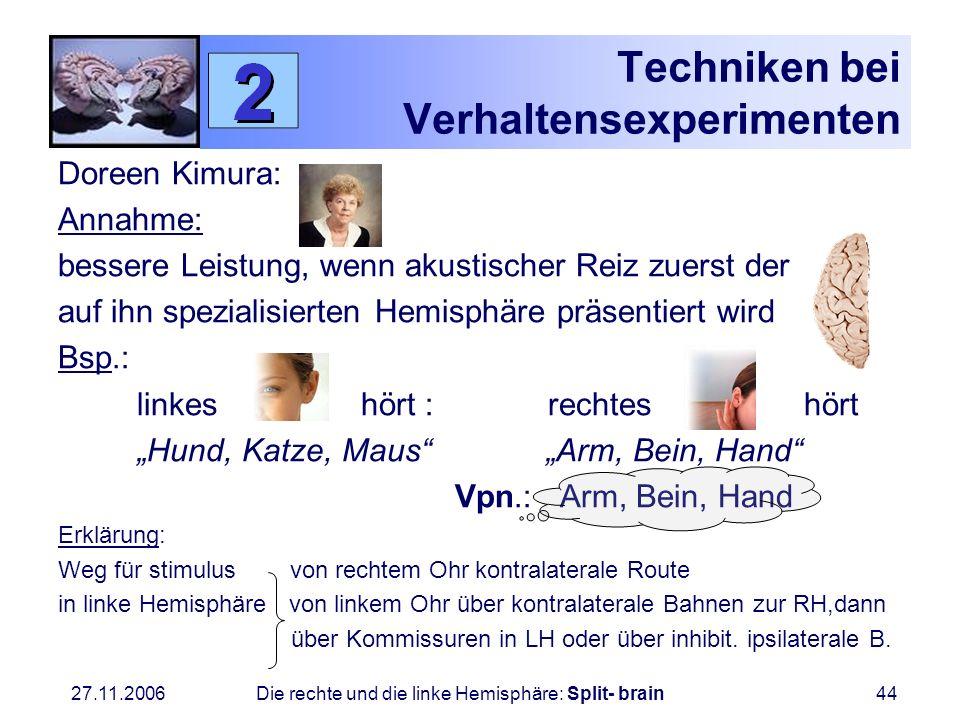 27.11.2006 Die rechte und die linke Hemisphäre: Split- brain44 Techniken bei Verhaltensexperimenten Doreen Kimura: Annahme: bessere Leistung, wenn aku