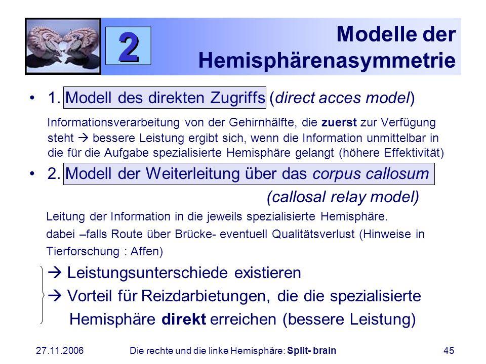27.11.2006 Die rechte und die linke Hemisphäre: Split- brain45 Modelle der Hemisphärenasymmetrie 1. Modell des direkten Zugriffs (direct acces model)