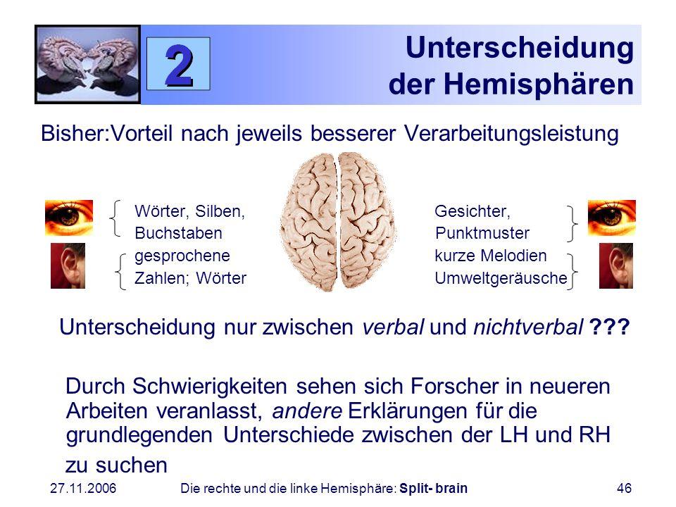 27.11.2006 Die rechte und die linke Hemisphäre: Split- brain46 Unterscheidung der Hemisphären Bisher:Vorteil nach jeweils besserer Verarbeitungsleistu