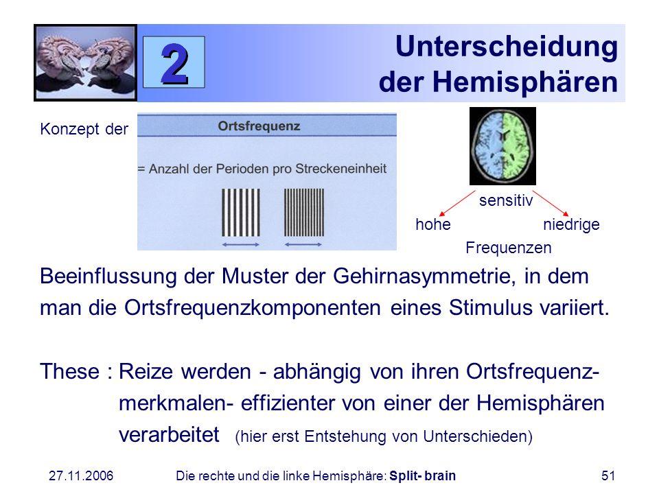 27.11.2006 Die rechte und die linke Hemisphäre: Split- brain51 Unterscheidung der Hemisphären Konzept der sensitiv hohe niedrige Frequenzen Beeinfluss