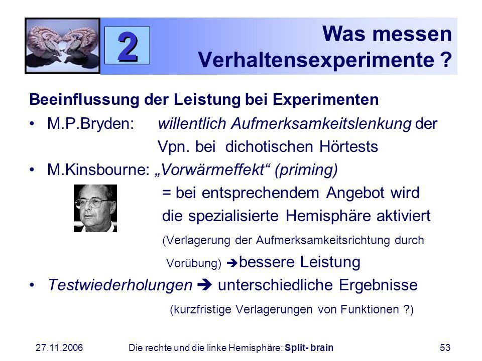27.11.2006 Die rechte und die linke Hemisphäre: Split- brain53 Was messen Verhaltensexperimente ? Beeinflussung der Leistung bei Experimenten M.P.Bryd