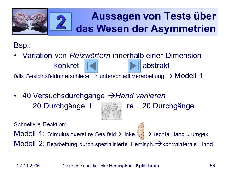 27.11.2006 Die rechte und die linke Hemisphäre: Split- brain56 Aussagen von Tests über das Wesen der Asymmetrien Bsp.: Variation von Reizwörtern inner