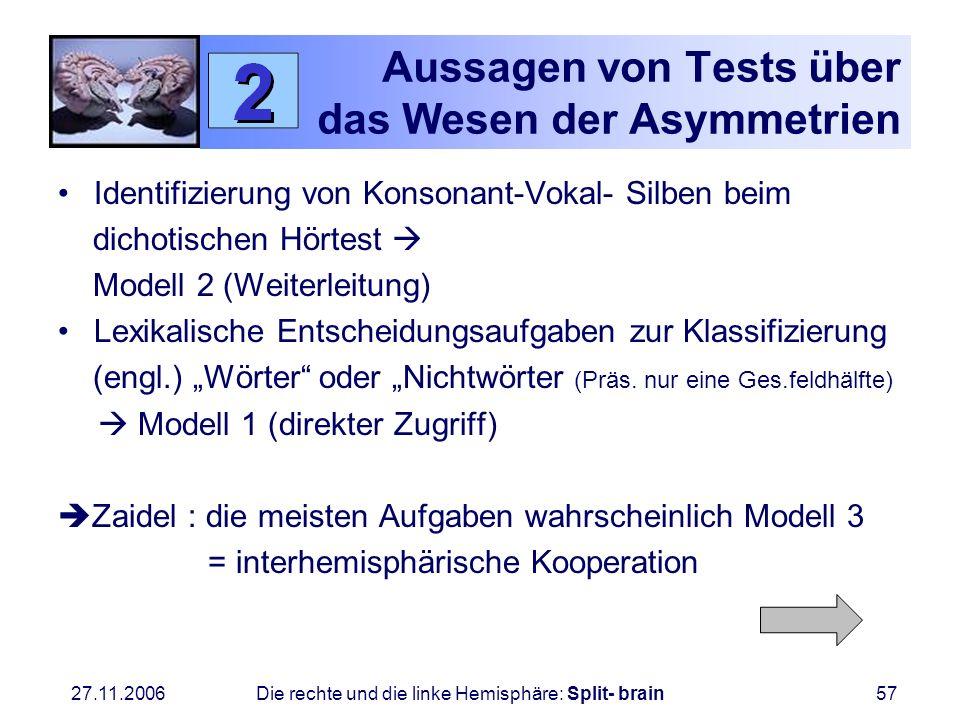 27.11.2006 Die rechte und die linke Hemisphäre: Split- brain57 Aussagen von Tests über das Wesen der Asymmetrien Identifizierung von Konsonant-Vokal-