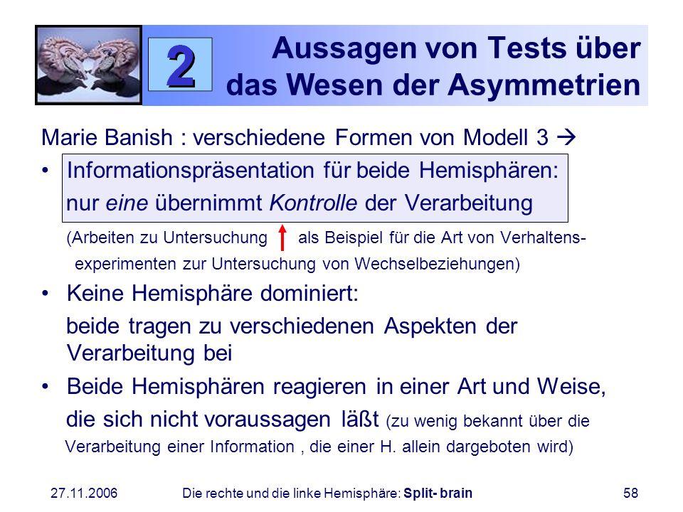 27.11.2006 Die rechte und die linke Hemisphäre: Split- brain58 Aussagen von Tests über das Wesen der Asymmetrien Marie Banish : verschiedene Formen vo