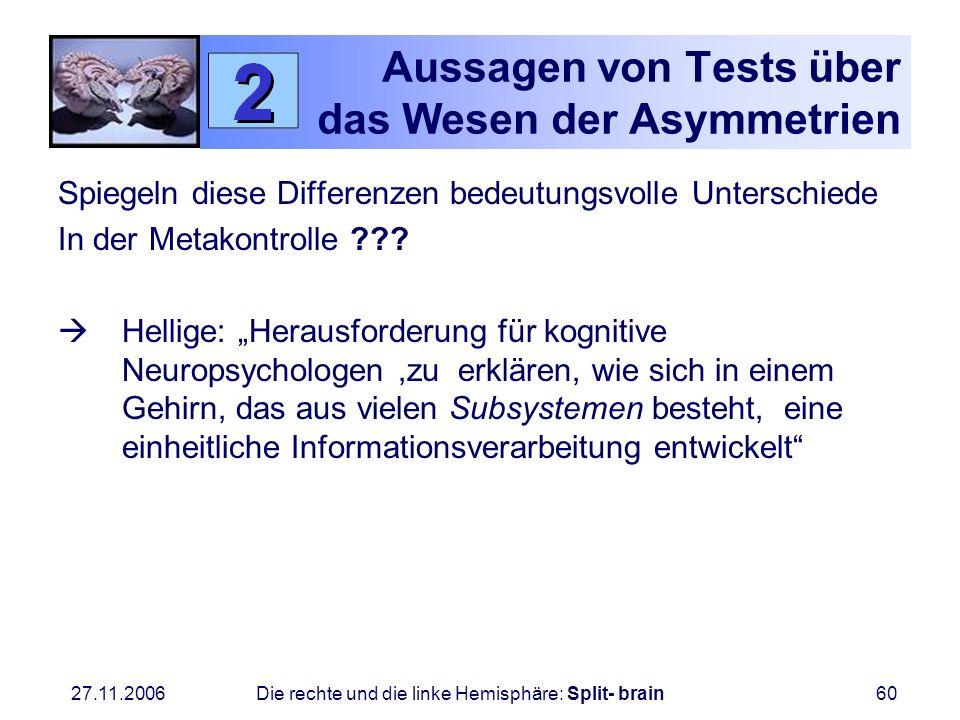 27.11.2006 Die rechte und die linke Hemisphäre: Split- brain60 Aussagen von Tests über das Wesen der Asymmetrien Spiegeln diese Differenzen bedeutungs