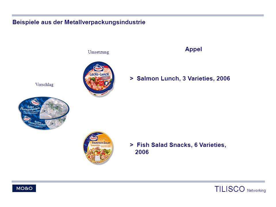 Appel > Salmon Lunch, 3 Varieties, 2006 > Fish Salad Snacks, 6 Varieties, 2006 Beispiele aus der Metallverpackungsindustrie Vorschlag Umsetzung TILISC