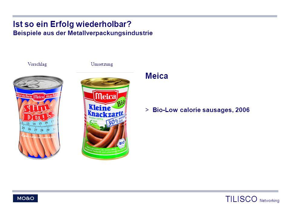 Meica > Bio-Low calorie sausages, 2006 Ist so ein Erfolg wiederholbar? Beispiele aus der Metallverpackungsindustrie VorschlagUmsetzung TILISCO Network