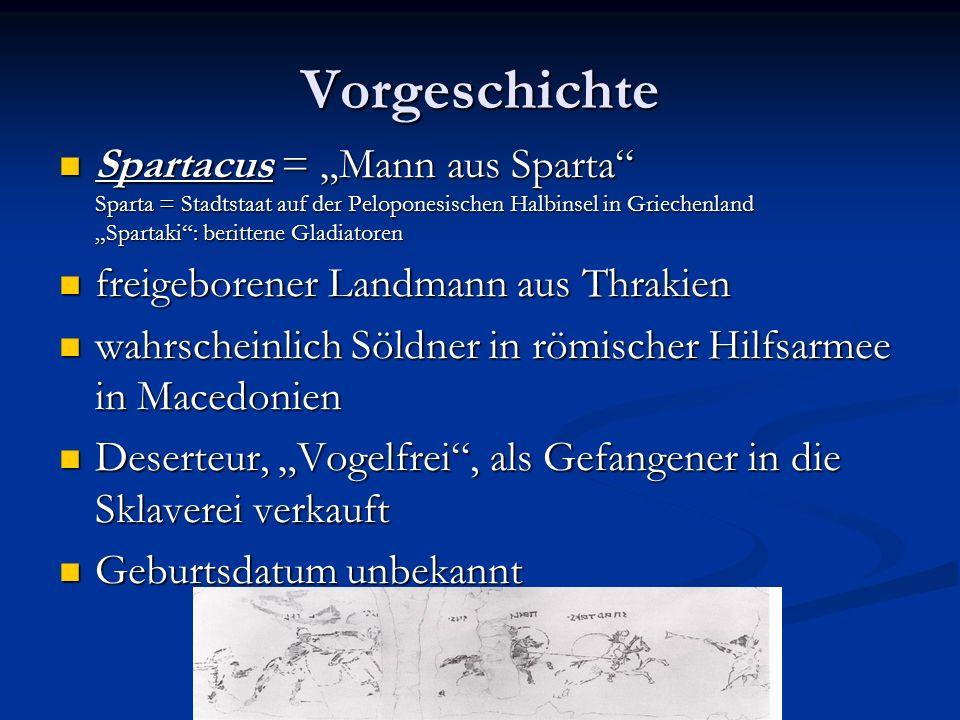 Vorgeschichte Spartacus = Mann aus Sparta Sparta = Stadtstaat auf der Peloponesischen Halbinsel in Griechenland Spartaki: berittene Gladiatoren Sparta